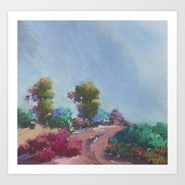 Pink Road to California Trees - Malibu Blue Sky Art Print