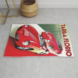 Vintage Italian Roadster Racing Targa Florio Sports Car Poster Rug