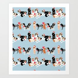 Coonhound Holiday Art Print