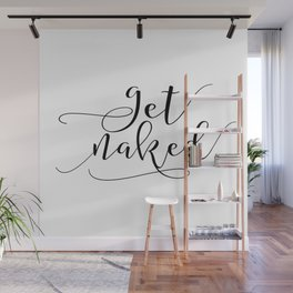 Get Naked Printable Art Print, Bathroom Wall Art, Watercolor Floral Tribal Print, Typography Art Wall Mural
