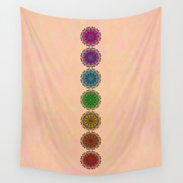 Colorful Rainbow Chakra Mandala , Yoga & Meditation Seven Sacred Mandalas Flower Painting Wall Tapestry