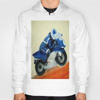 motorbike Hoodies featuring Art, painting, illustration, motorbike by WhitePanther