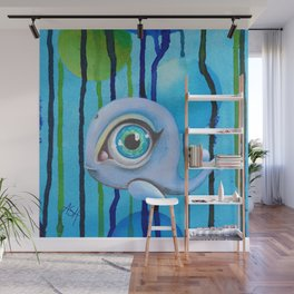 light blue baleine Wall Mural