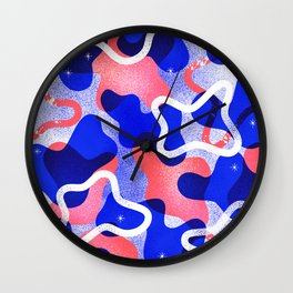 Blue and Red Khaki Pattern Wall Clock