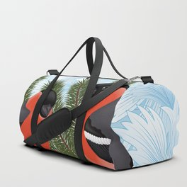 Bullfinch birds on fir tree branches Duffle Bag