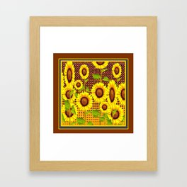 COFFEE BROWN SUNFLOWERS CABIN ART Framed Art Print