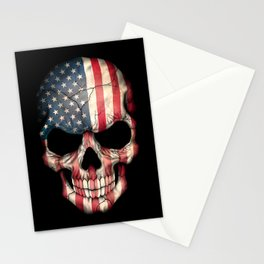 American Flag Skull on Black Stationery Cards
