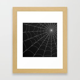 Spiderweb on Black Framed Art Print