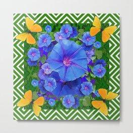 Forest Green Pattern Blue Morning Glory  Butterfly Art Metal Print