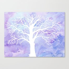 Watercolor Abstract winter oak tree purple background Canvas Print