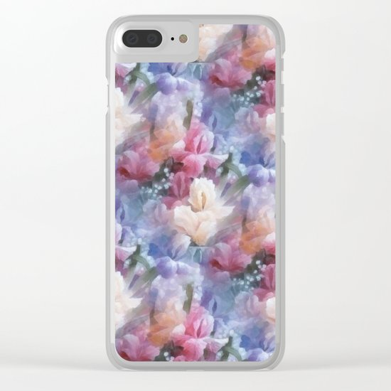 Sweet watercolor irises Clear iPhone Case