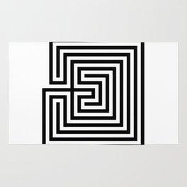 Cretan labyrinth in black and white Rug