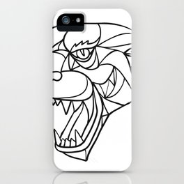 Panther Angry Head Mosaic Black and White iPhone Case