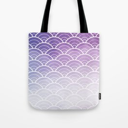 Purple Ombre Japanese Waves Pattern Tote Bag