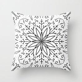 Single Snowflake - White Throw Pillow