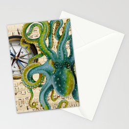 Octopus Compass Green Music Collage Stationery Cards