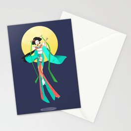 Japanese Geisha and the Moon Stationery Cards