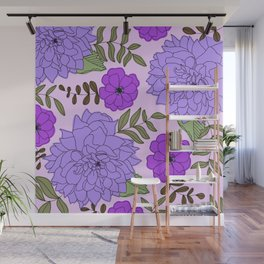 Late Summer Lilac Dahlia and Purple Hellebore Flowers Modern Floral Print Wall Mural