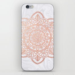Rose Gold Mandala on White Marble iPhone Skin