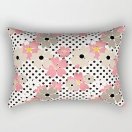 Pink beige flowers on a background of black peas. Rectangular Pillow