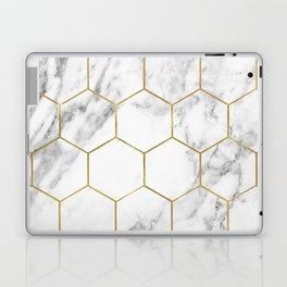 Gold marble hexagon pattern Laptop & iPad Skin
