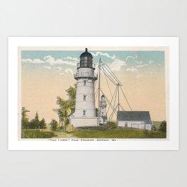 Twin Lights, Cape Elizabeth Maine Art Print