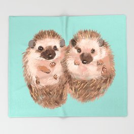 Twin Hedgehogs Throw Blanket