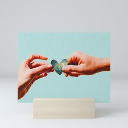 Hold My Heart For a Sec (With Retro Halftone Texture) Mini Art Print