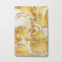 White Dragon Marble Metal Print
