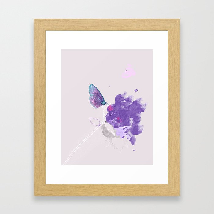 Purple butterfly & flower watercolor illustration painting Framed Art Print