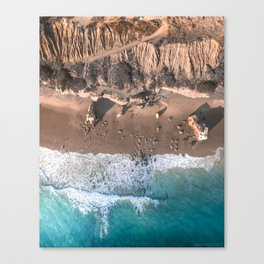 Aerial view of El Matador Beach in Malibu, CA Canvas Print