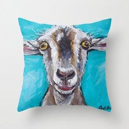 Goat Art, Colorful Farm Animal Throw Pillow