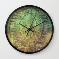 ferris wheel Wall Clocks featuring Ferris Wheel by Creative Vibe