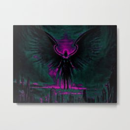 Angelic Guardian Purple Teal Metal Print