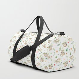 Modern green pink brown watercolor sloth floral pattern Duffle Bag
