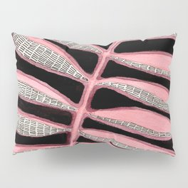 Pink Striped Leaves Pillow Sham