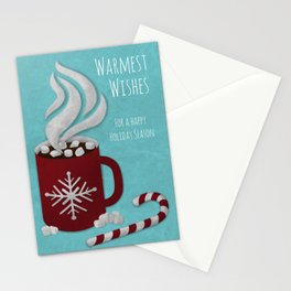 Warmest Wishes Hot Cocoa Digital Paper Cut Holiday Greeting Card Stationery Cards