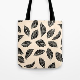 Falling Leaves in black and ivory Tote Bag