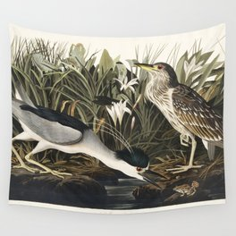 Night Heron or Qua bird from Birds of America (1827) by John James Audubon etched by William Home Li Wall Tapestry