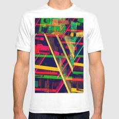 Industrial Abstract Green Mens Fitted Tee MEDIUM White