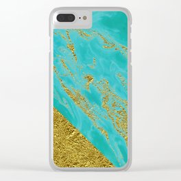 Luxury and glamorous gold glitter effect on aqua Sea marble 1 on #Society6 Clear iPhone Case