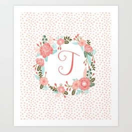 Monogram T - cute girls coral florals flower wreath, coral florals, baby girl, baby blanket Art Print