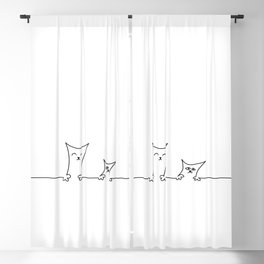 4 Cats on a Line #001, Cat 3 & 4, by clodyCats Blackout Curtain