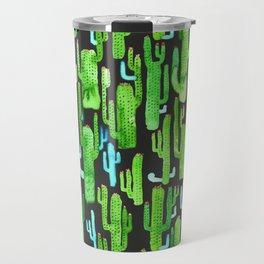cactus on black pattern Travel Mug