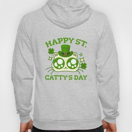 Happy St. Catty's Day St Patricks Funny Cat Clover Hoody