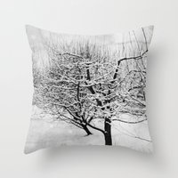 blankets Throw Pillows featuring Blankets of Snow by Bella Blue Photography