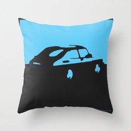 Saab 900 classic, Light Blue on Black Throw Pillow