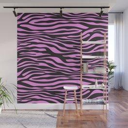 Animal Print, Zebra Stripes - Black Pink Wall Mural