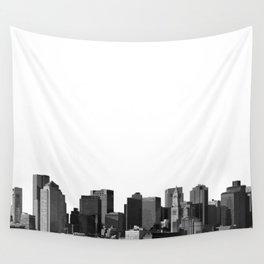 Boston Massachusetts Skyline Black and White Wall Tapestry
