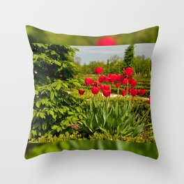 elm and red tulips arranged Throw Pillow